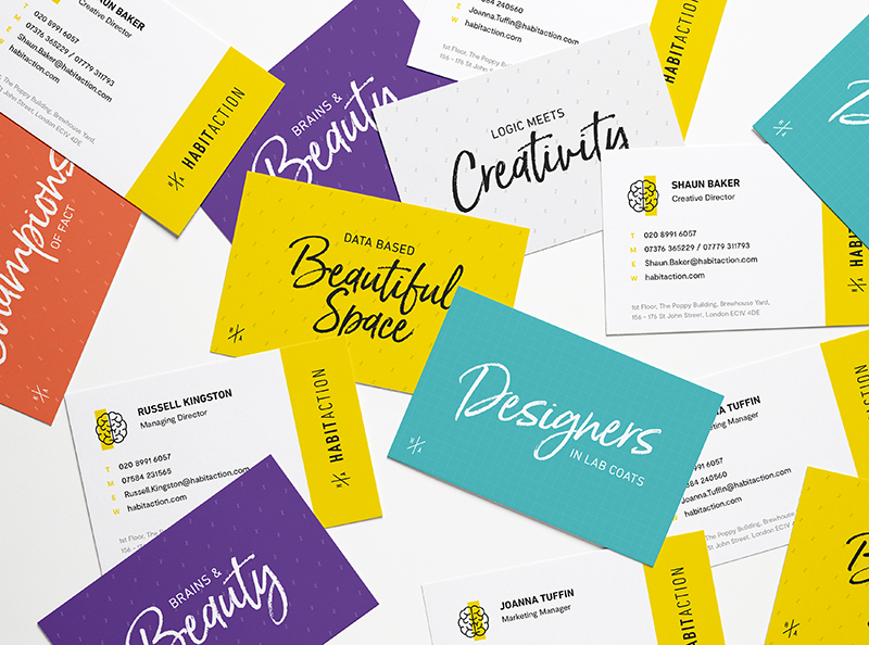 Cool, colourful business cards laying on a table