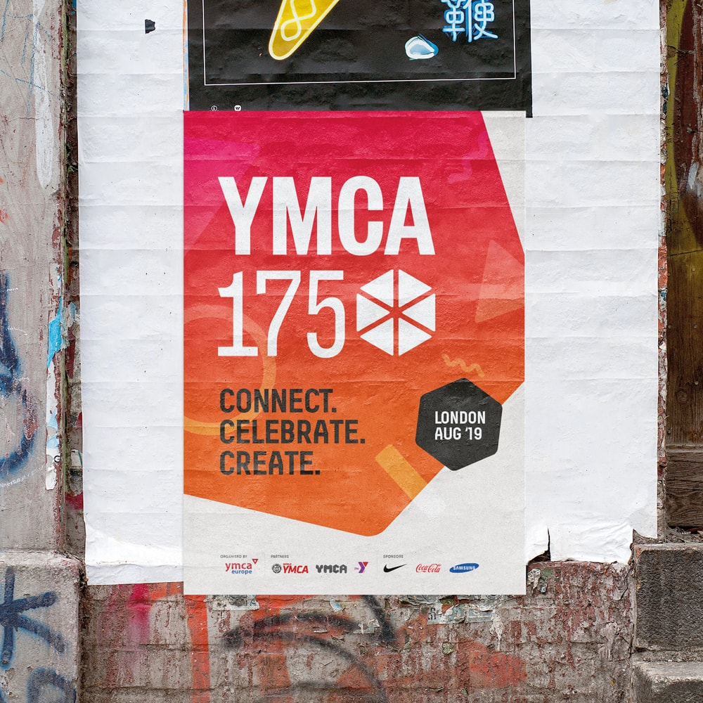YMCA 175 poster pasted on a wall