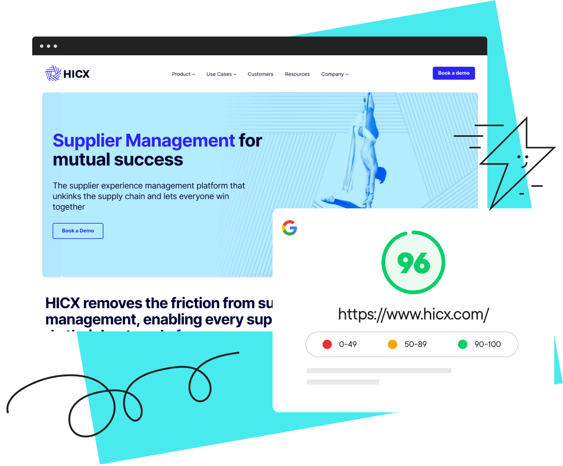 Website landing page with speed test at 96%