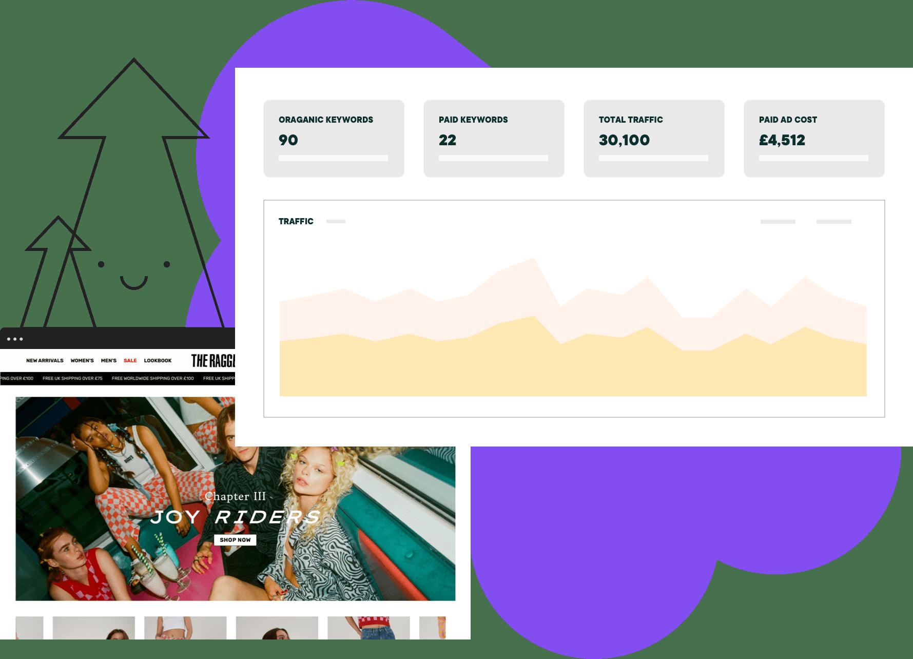 SEO data charts and website analysis