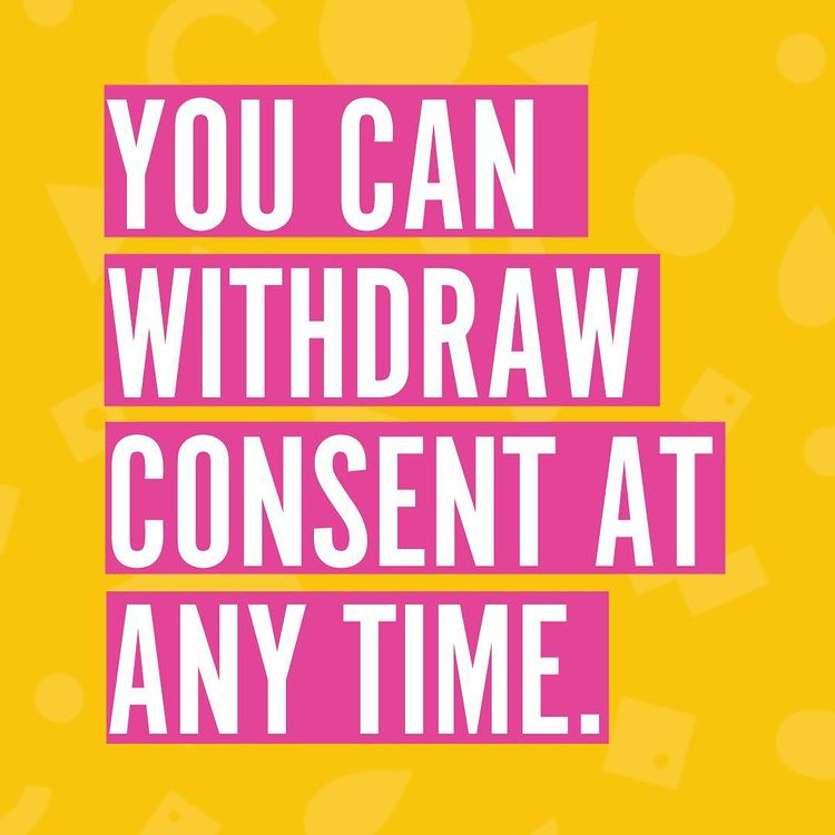 Typographical message 'You can withdraw consent at any time' in Brook's vibrant colours